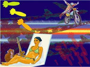 Sun, Lazers, Bombs, Chimps, M16, Motorcross, Bombers, Bikini, lounge chair, Ilyena