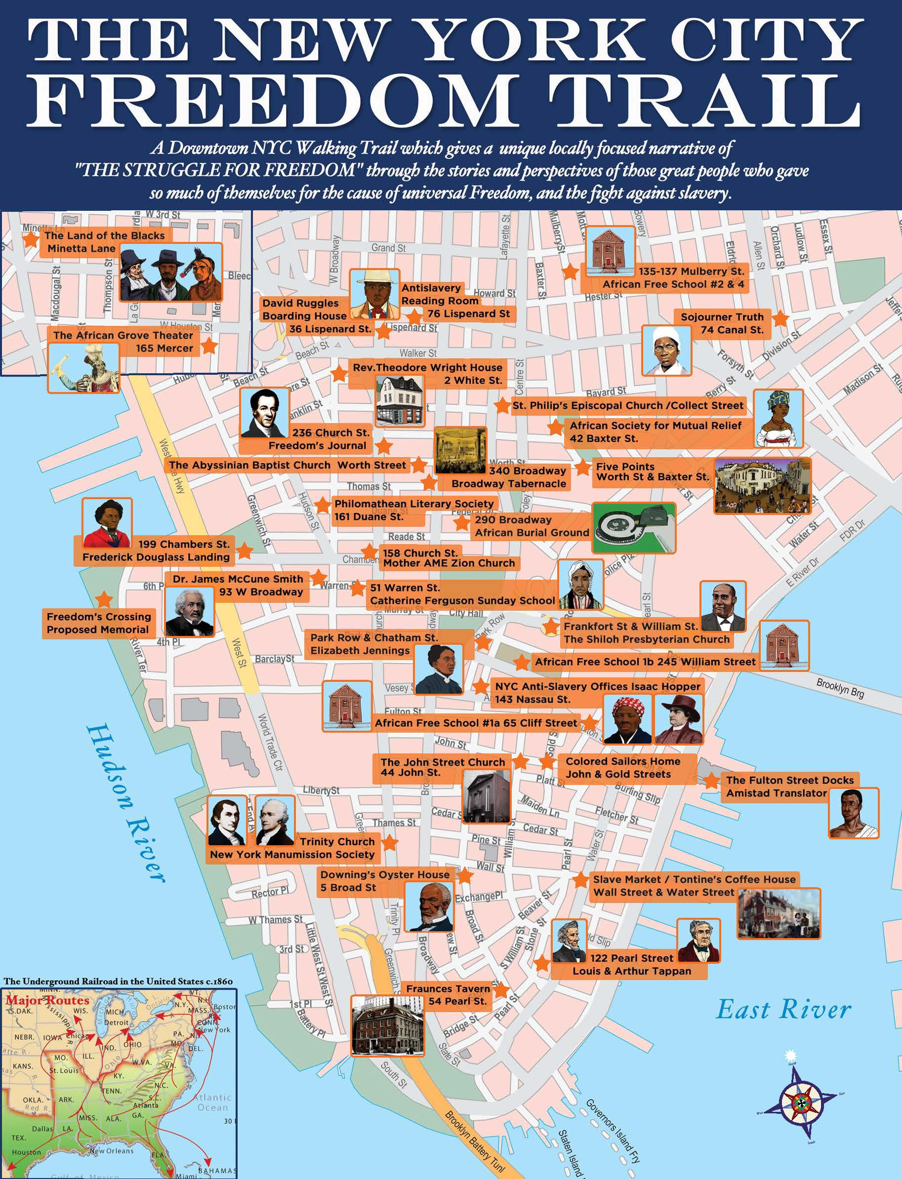 A walking tour and map of sites and people who helped so many escape the bonds of slavery, in pursuit of human dignity, and the right to make their own way in life.